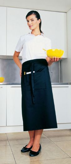 Long Cotton Bar Apron With Pocket