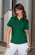 Premium pocket oxford blouse short sleeved ladies